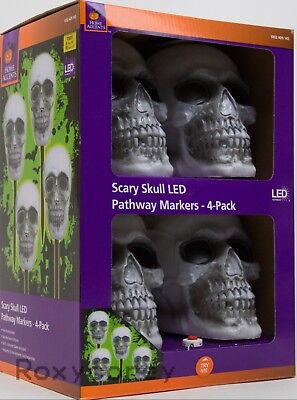 Led Drinkware (Halloween Home Accents 4 Pack 14 in Blow Molded Skull LED Pathway Markers)