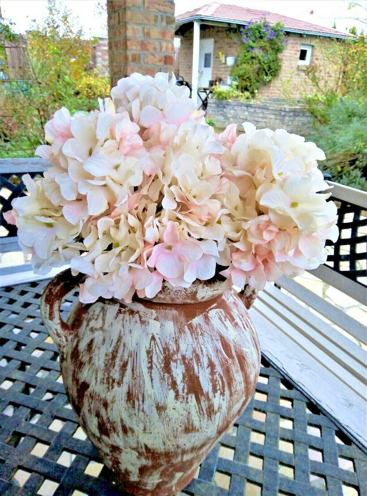 Hortensie Kunstblumen Seidenblumen Blume Shabby Chic Landhaus rosa mit 6 Blüten