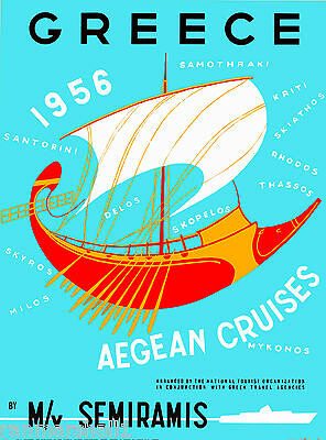 1956 Greece Greek Isle Aegean Cruises Vintage Travel Advertisement Art Poster