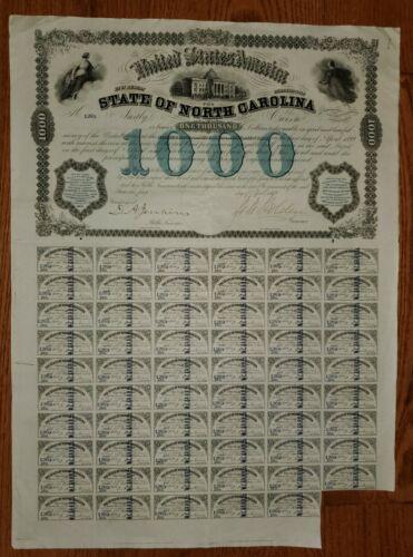 1869 State of North Carolina $1000 Bond
