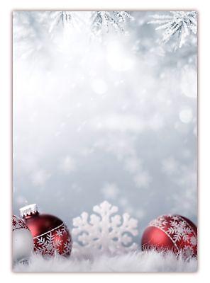 Motivpapier Briefpapier (Weihnachten-5179 DIN A4 100 Blatt) rote Kugeln Schnee