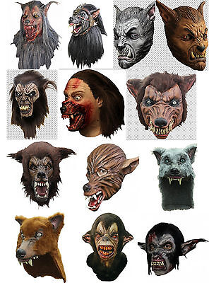 Large latex wolf and werewolf masks and helmets - great for Halloween or LARP