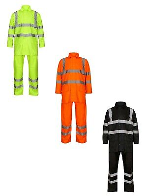 Hi Viz High Vis Waterproof Rain Suit Jacket Trouser Hooded Rain Wear Set Orange (High Viz Rain Suit)