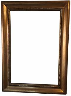 Bevelled Mirror in Antique Gold, Solid Timber Frame Only $150