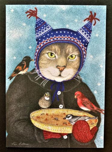 Cat Christmas Cards Paris Bottman SET OF 4 Hat Cat Birds Lover Large Beautiful