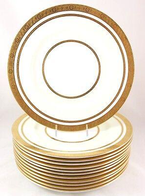 2 SETS GOLD ENCRUSTED BOUILLON CREAM SOUP BOWLS /& SAUCERS FAB MINTON CHINA H1886