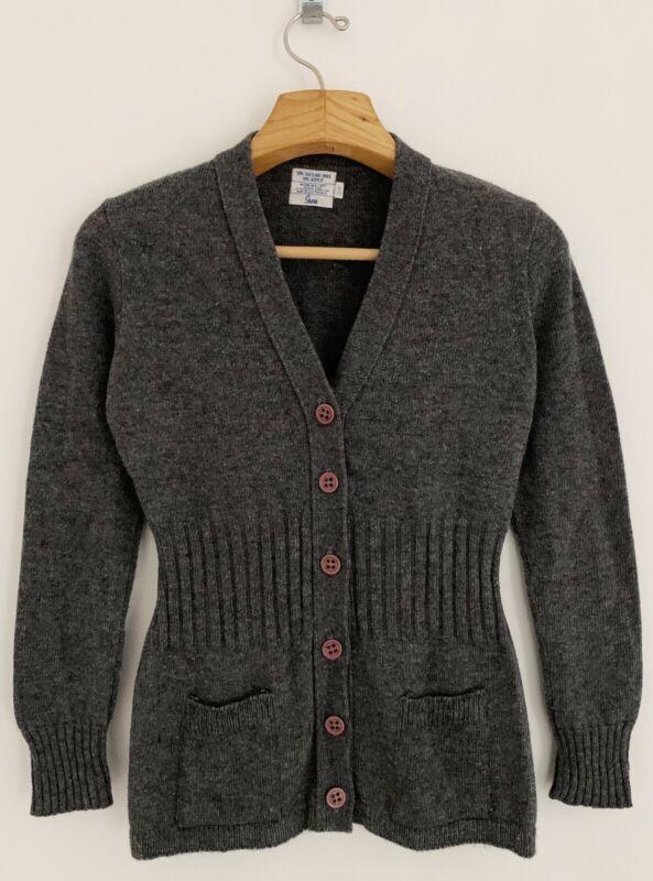 Vintage SEARS Women Shetland Wool Blend Cardigan Sweater S/M Gray Button Front