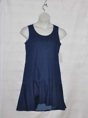Petite Length - Joan Rivers Petite Length Sleeveless Denim Dress w/ Flounce Hem Size SP Indigo