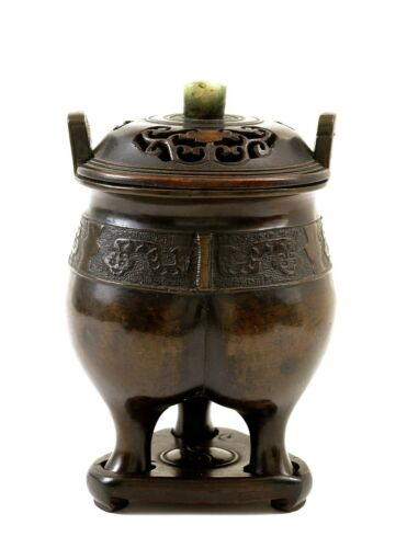 19C Chinese Bronze Tripod Incense Burner Censer Jadeite Wood Carved Lid Stand
