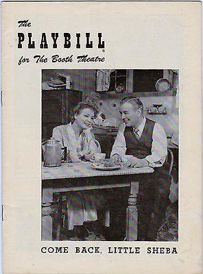 1950 Playbill Original Cast Come Back, Little Sheba Shirley Booth