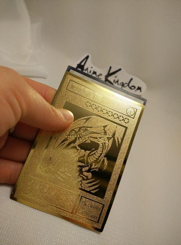 USA Seller Cosplay Anime BLUE-EYES WHITE DRAGON Golden Metal Card Custom made