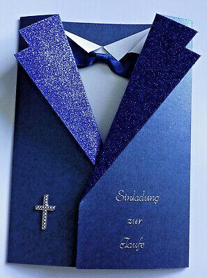 Einladungskarten Einladung zur Taufe Junge Sakko Karte blau Kreuz Umschlag  (Taufe Karten)
