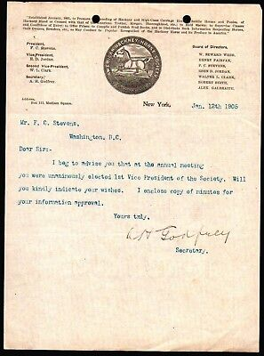 1905 American Hackney Horse Society - F C Stevens - New York - Letter Head Rare for sale  Lake Monroe