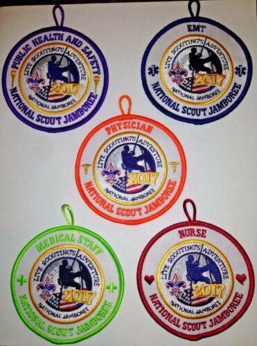 Medical Staff Looped 5 Patch Staff Set 2017 National Boy Scout Jamboree - RARE!