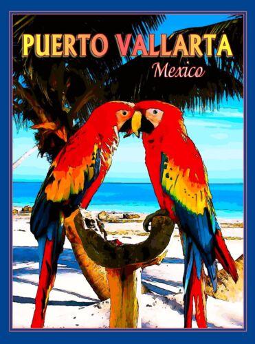 Puerto Vallarta Mexico Parrots Macaws Birds Mexican Travel Advertisement Poster