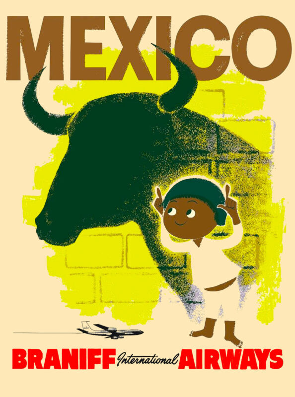 Mexico Mexican Little Boy and Bull Air Vintage Travel Advertisement Art Poster