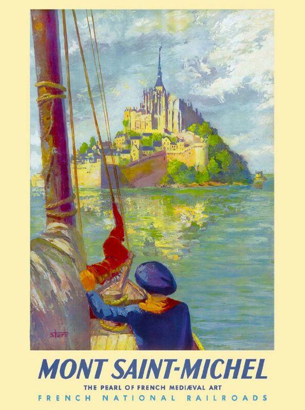 Mont Saint Michel France French Europe Vintage Travel Advertisement Art Poster
