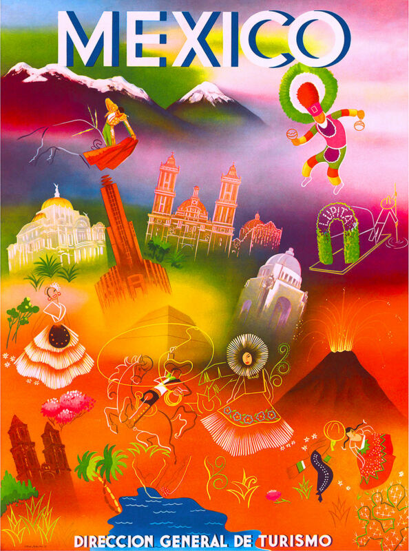 Mexico Mexican Latin America American Vintage Travel Advertisement Art Poster