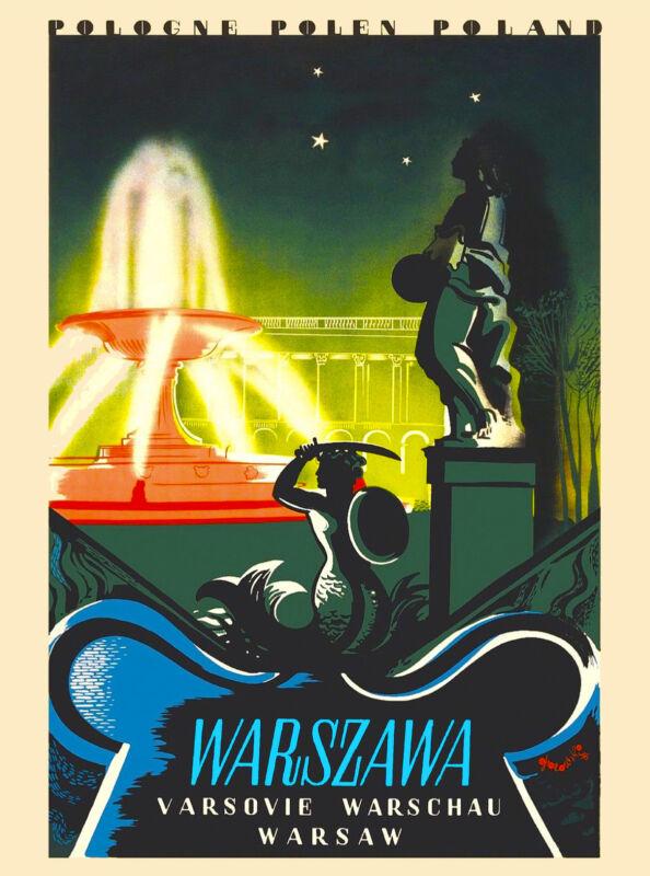 Warsaw Warszana Poland Europe Polish Vintage Advertisement Travel Art Poster