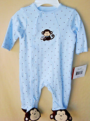 LITTLE ME 100% COTTON Light Blue MONKEY STAR w/Fancy Feet Footie NWT