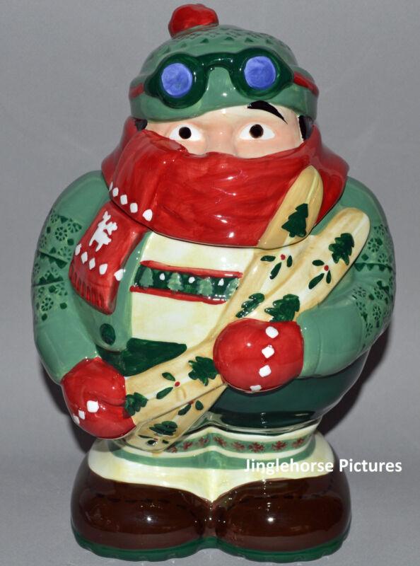 "Winter Mountain Skier Cookie Jar 11.5"" Christmas Holiday Ceramic Gift skiing hat"