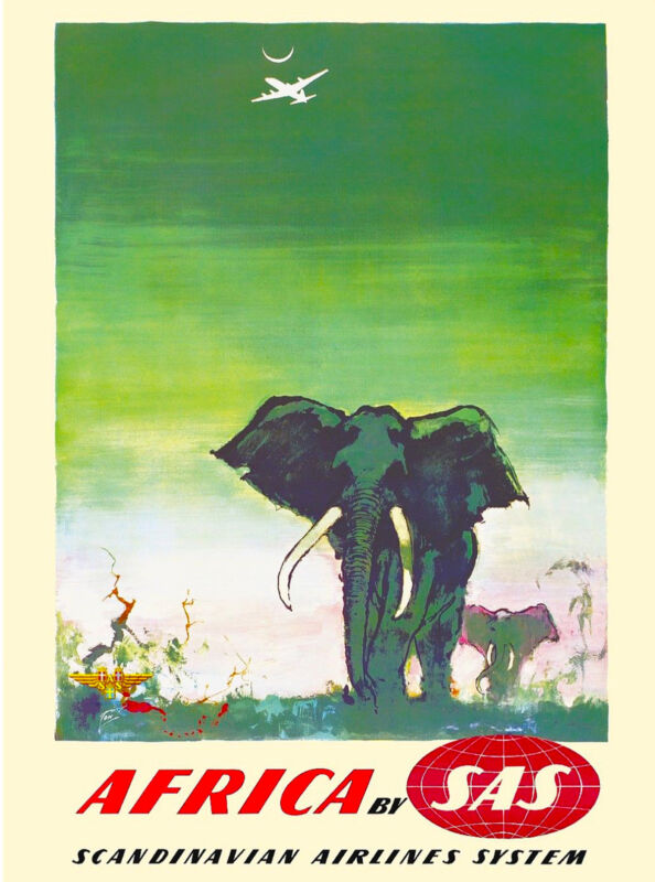 Africa By Clipper Elephant Vintage African Travel Advertisement Poster