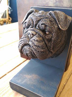 Bull Buchstützen (Englisch Bulldogge Bücherstützen Harz Hand Hund Buch Stützen Fertig Antiker)