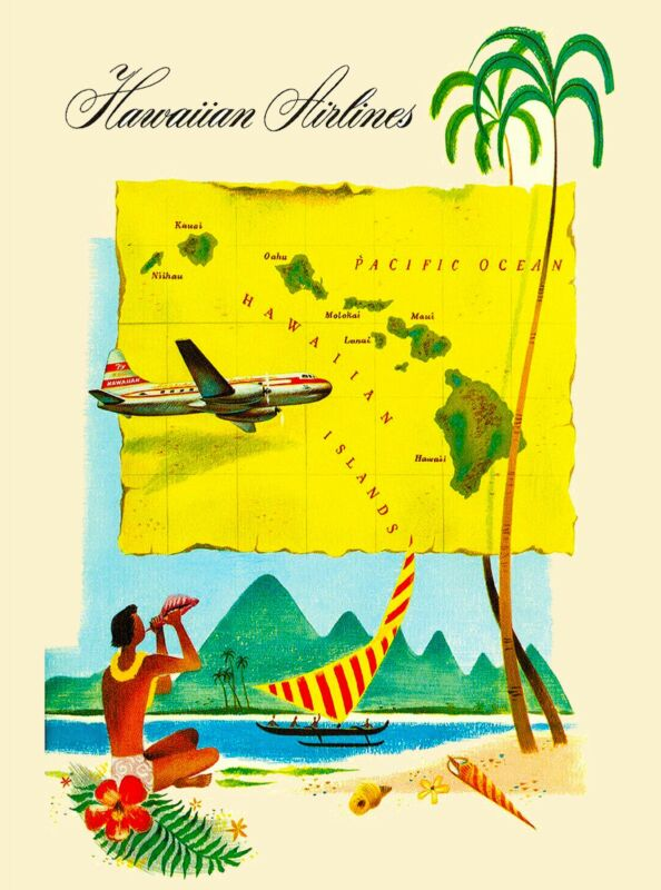 Hawaii Hawaiian Airlines Map United States America Travel Advertisement  Poster