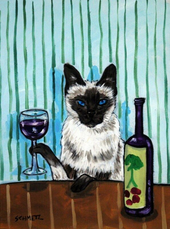 siamese cat wine  art print animals impressionism 13x19