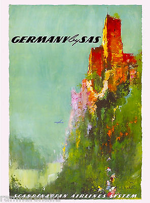 Germany by Airplane German Europe European Vintage Travel Advertisement Poster