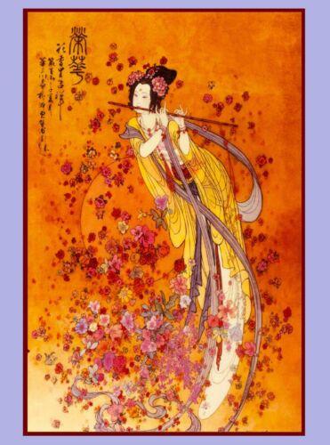 Japan Japanese Geisha playing Flute Asia Asian Travel Art Advertisement Poster