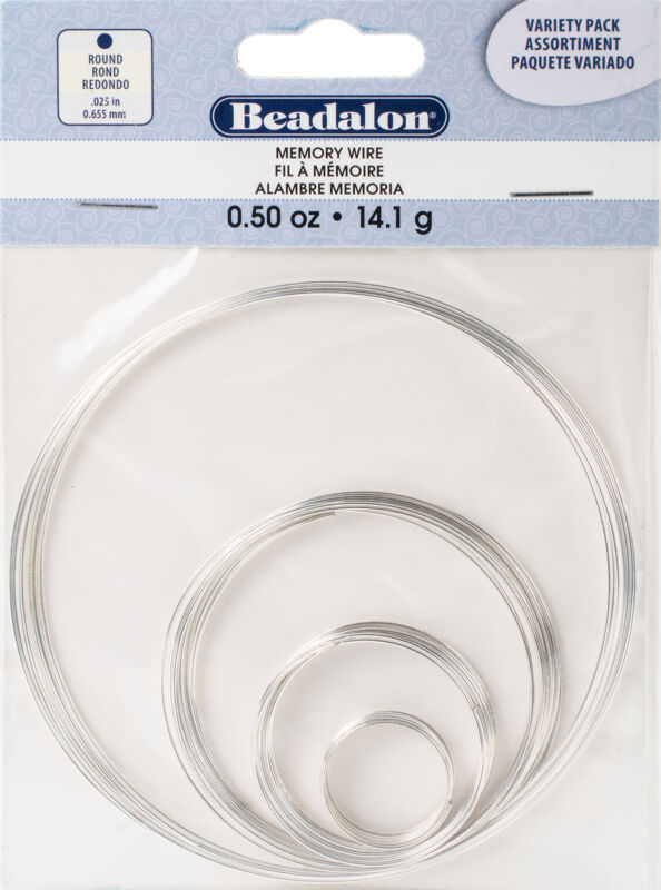 Memory Wire Combo Pack .62mm .5oz-Silver-Plated - 15 Coils