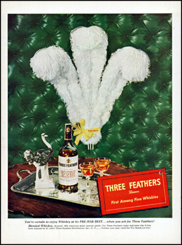 1945 Three Feathers Reserve Whiskey pre ww2 best vintage photo print Ad adL52