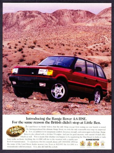 """1996 Land Rover Range Rover 4.6 HSE photo """"Introductory"""" vintage promo print ad"""