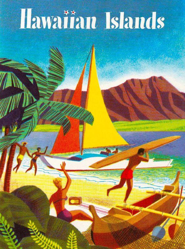 Hawaii Hawaiian Sailboat Oahu United States America Travel Advertisement Poster
