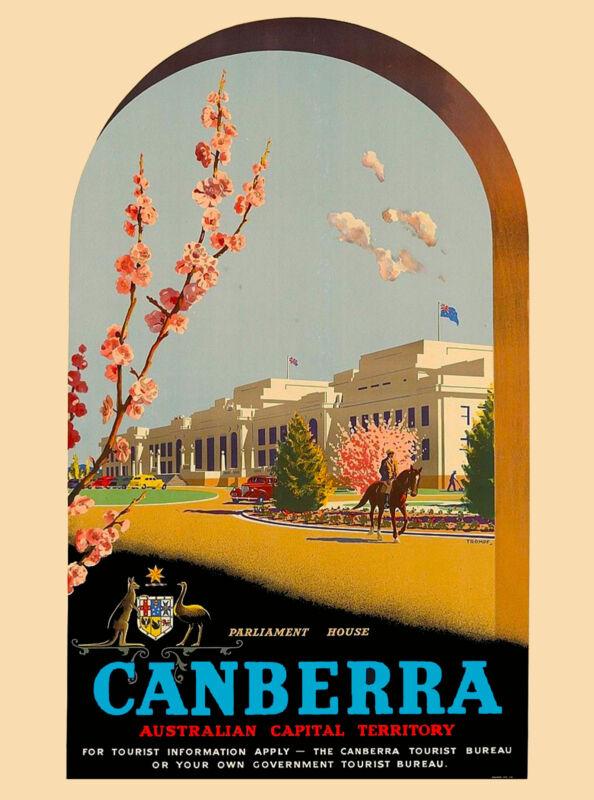 Canberra Australia Australian by Air Vintage Travel Advertisement Art Poster