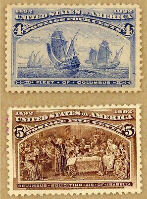 US Scott#233-234 XF dist OG 1893 Columbian 4c & 5c beauties
