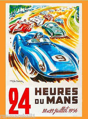 1956 24 Hours Le Mans French Automobile Race Advertisement Vintage Poster 4