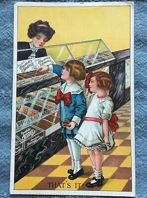 Vtg Greenfield's Chocolate Sponge Advertising Postcard - Boy Girl Candy Counter