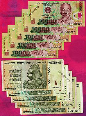 5 Billion Zimbabwe Dollars x 20 Banknotes AA AB 2008 1//5 Bundle 20PCS PaperMoney