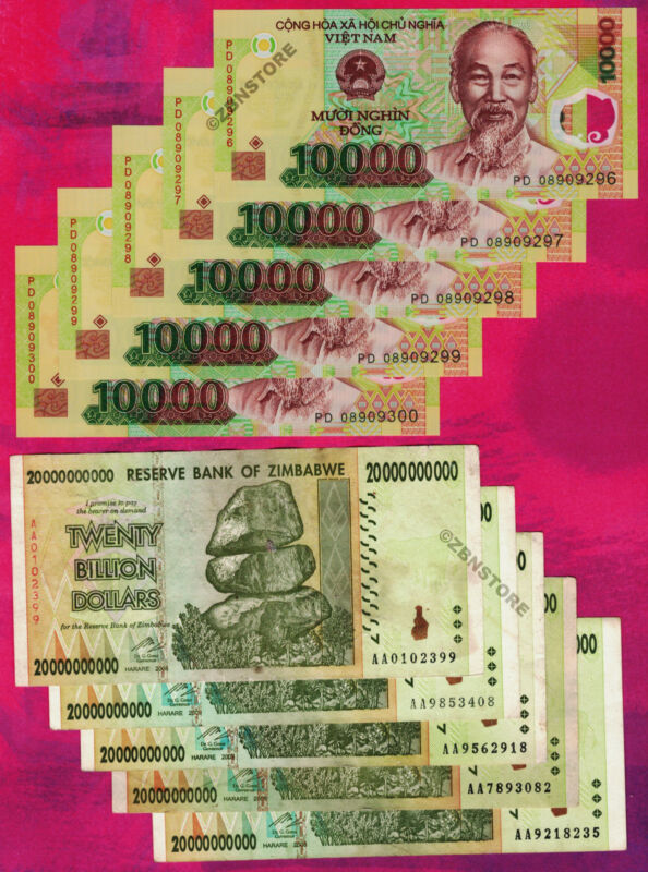 5 x 20 Billion Zimbabwe Dollars + 5 x 10000 Vietnam Dong Bank Notes Currency Lot