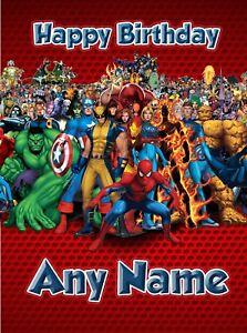Personalised Birthday Card - Marvel Spiderman Iron Man Hulk  - Son Grandson Boy