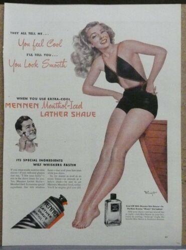 Mennen Shaving Cream Ad 1946 Print Ad Sexy Woman