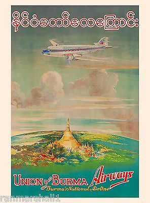 Union of Burma Burmese Southeast Asia Vintage  Travel Poster Advertisement
