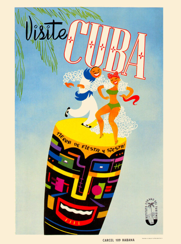 Visite Cuba Cuban Havana Habana Dance Caribbean Travel Art Advertisement Poster