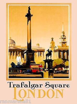 London Trafalgar Square England Great Britain Travel Advertisement Art Poster