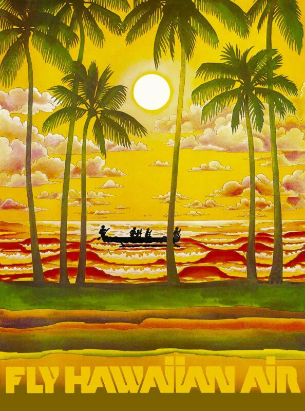 Hawaii Hawaiian Beach Sunset Airplane United States Travel Advertisement Poster