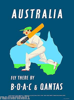 Australia Qantas Australian Cricket  Vintage Travel Advertisement Art Poster