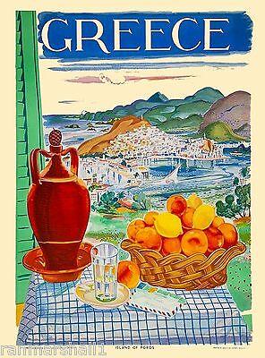 Greece Greek Island of Poros Isle Europe Vintage Travel Advertisement Poster
