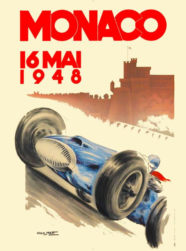 1948 Monaco Grand Prix Automobile Race Car Advertisement Vintage Poster